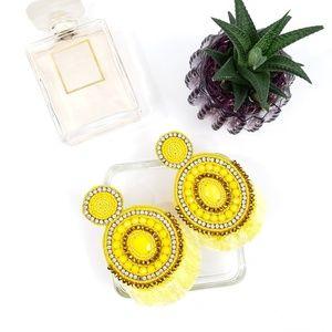 Jewelry - Lemon Yellow Beaded Tassel Fan Fringe Earrings